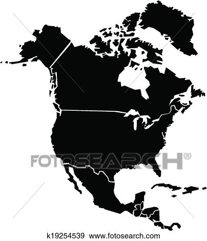 Clip Art of Chunky North America Map k19254539 - Search Clipart ...