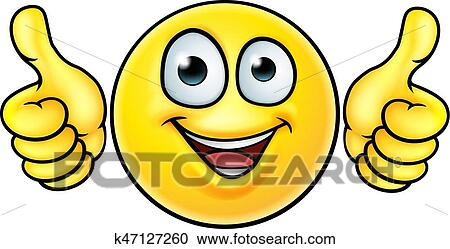 clipart of emoji thumbs up icon k47127260 search clip art rh fotosearch com free clipart two thumbs up Thumbs Up Clip Art B