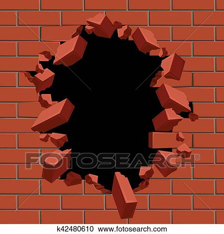 Exploding Out Hole In Red Brick Wall Vector Illustration Construction Surface Brickwall And Broken Structure