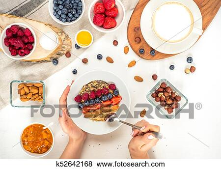 Pictures Of Good Morning Healthy Breakfast With Text Space Top View