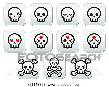 Clipart Kawaii Cute Halloween Skull Buttons Fotosearch Search Clip Art Illustration Murals