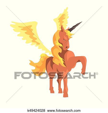 Magico Unicorno Cavallo Alato Mitico E Fantastico Animale