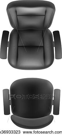 Office Chair And Boss Armchair Top View Vector Realistic Isolated Furniture For Cabinet Or Conference Room Plan