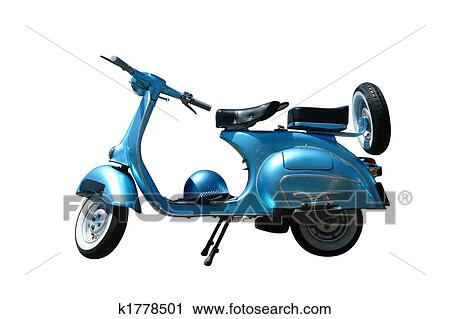Vintage vespa scooter (path included) Stock Image
