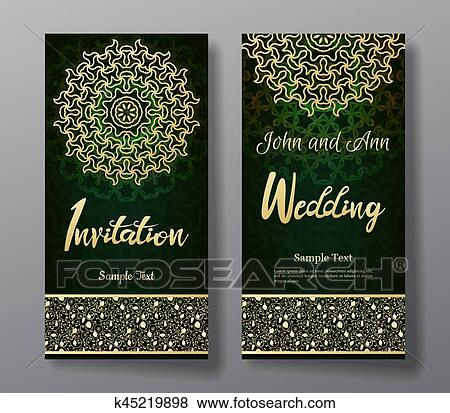 Wedding Invitation Card With Arabic Mandala Background Clip
