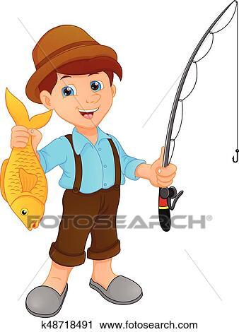 صيد للسمك الولد حمل أسماكا رسم كاريكتوري Clipart K48718491 Fotosearch
