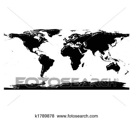 Stock illustration of 3d world map silhouette with reflection 3d world map silhouette with reflection isolated in white gumiabroncs Gallery