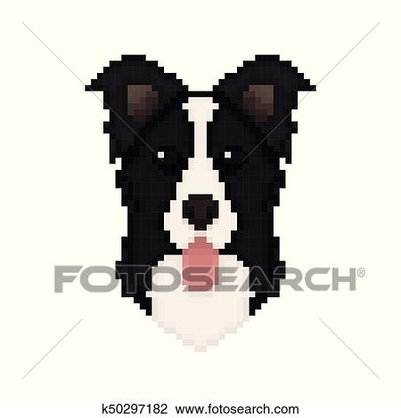 Border Collie Dog Head In Pixel Art Style Clipart