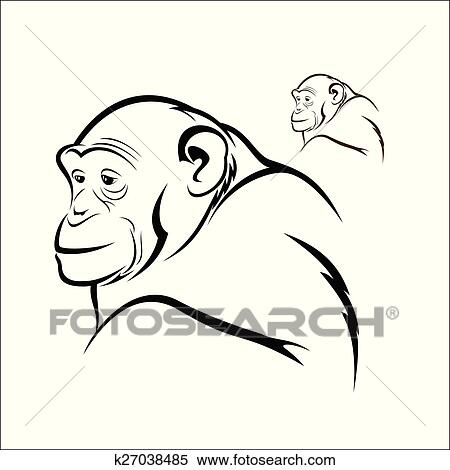 clipart of chimpanzee k27038485 search clip art illustration