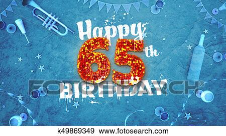 Happy 65th Birthday Card With Beautiful Details Stock Illustration