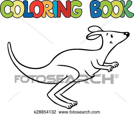 Clipart - libro colorear, de, poco, divertido, canguro k28854132 ...