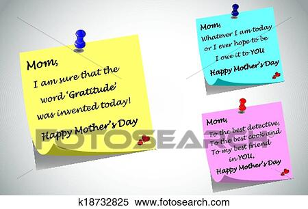 Clipart Of Mothers Day Quotes Post It Notes K18732825 Search Clip