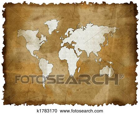 Stock illustrations of old world map on grunge retro paper stock illustration old world map on grunge retro paper fotosearch search clipart gumiabroncs Images