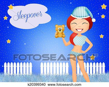 stock illustrations of sleepover k20399340 search clipart