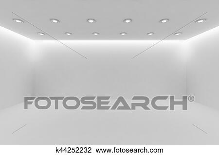 Abstract Architecture White Room Interior Wide Empty With Wall Floor Ceiling Small Round Lamps And Hidden