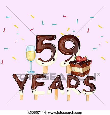 59th Years Happy Birthday Card Clipart