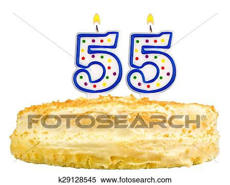 Swell Birthday Cake Candles Number Fifty Five Isolated Stock Photography Personalised Birthday Cards Beptaeletsinfo