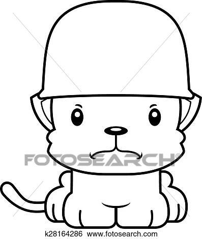 Clip Art Of Cartoon Angry Soldier Kitten K28164286