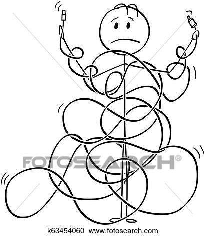 Clipart Of Cartoon Of Man Or Technician Tangled In Cord Line Or