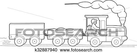 Drawing Of The Small Train Clipart K32887940 Fotosearch