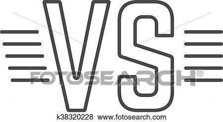 Grey Outline Versus Sign Like Opposition Clip Art K38320228
