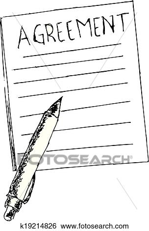 Clip Art Of Hand Draw Sketch Agreement Letter K19214826 Search