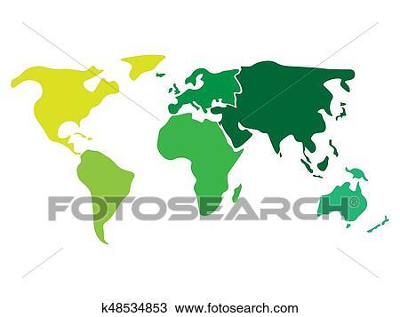 Karte Südamerika Und Nordamerika.Mehrfarbig Weltkarte Geteilt To Sechs Kontinente In Verschieden Farben Nordamerika Südamerika Afrikas Europa Asia Und Australia