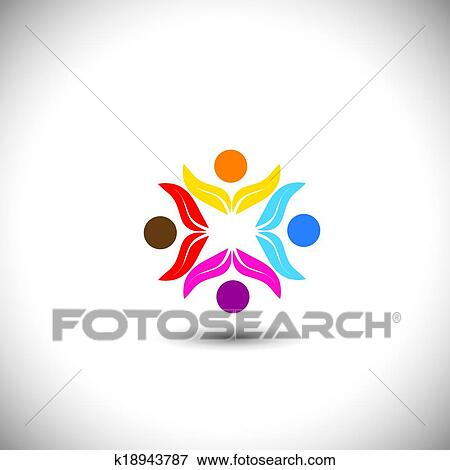 Clip Art Of People Icons Friends Together Kids Playing Concept