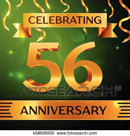 Realistic Fifty Six Years Anniversary Celebration Design Confetti And Gold Ribbon On Green Background Colorful Vector Template Elements For Your Birthday Party Anniversary Ribbon Clipart K58656930 Fotosearch