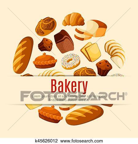 パン屋 そして ペストリー 店 ポスター で Bread そして ケーキ クリップアート 切り張り イラスト 絵画 集 K Fotosearch