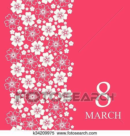 8 Marzo Scheda Decorato Fiori Verticale Ornamento Clipart