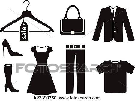 Clipart Of Clothes Icon Set In Black K23390750 Search Clip Art