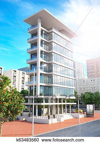 Facade of new modern apartment building. 3d illustration ...
