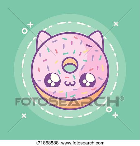 Gostosa Donut Com Rosto Gato Kawaii Estilo Clipart