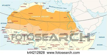 Map of the Sahara desert and Sahel zone Clip Art | k44212828 ...