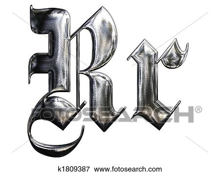 Metallic Patterned Letter Of German Gothic Alphabet Font R