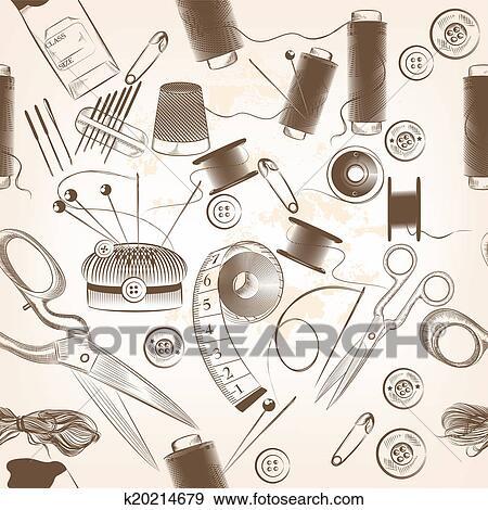 Stock Illustration - mode, seamless, muster, mit, fäden, nadeln, und ...