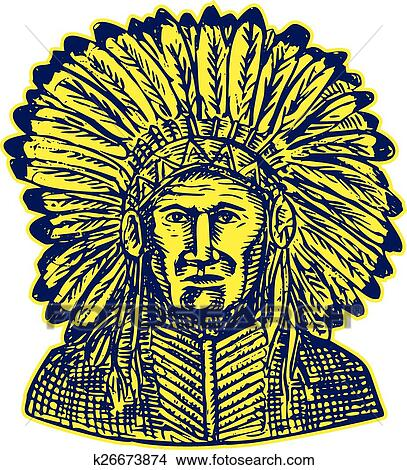 Clipart Of Native American Indian Chief Warrior Etching K26673874