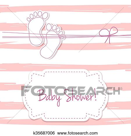 Stock Illustration Of Pink Vector Card Invitation For Baby Shower