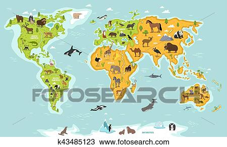 Clipart Of World Map With Wildlife Animals And Plants K43485123