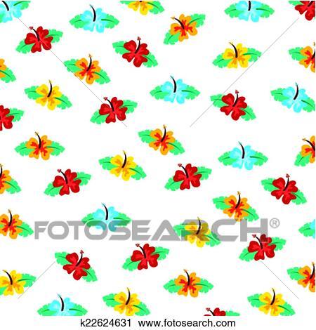 ハワイ 花 デザイン クリップアート切り張りイラスト絵画集