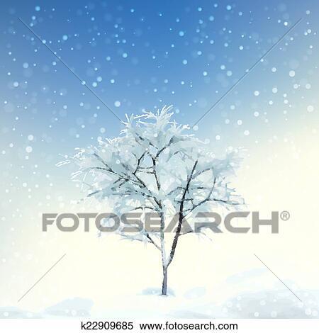 冬 デジタル 水彩画 風景 クリップアート切り張りイラスト絵画