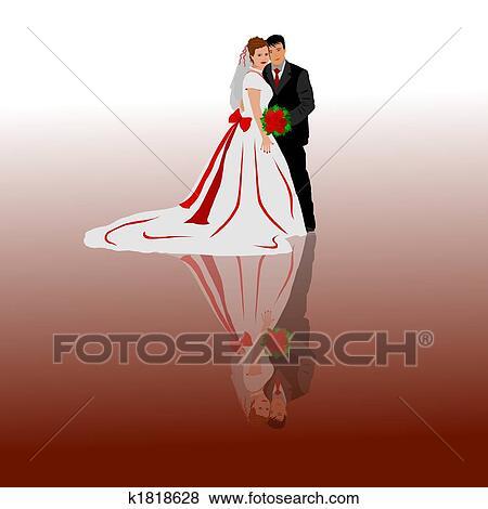 結婚式の カップル イラスト K1818628 Fotosearch