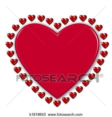 Coeur Rouge Entoure Par Cœurs Dessin K1818653 Fotosearch