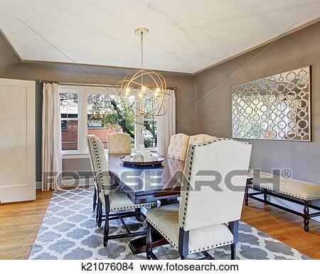 Elegante Sala Da Pranzo Interno Immagine K21076084 Fotosearch