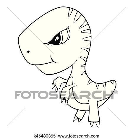 Clipart Of Illustration Of Cute Cartoon Of Green Baby T Rex Dinosaur