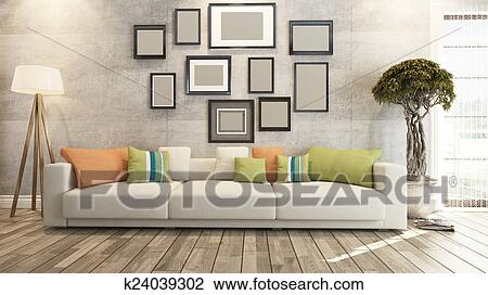 Living Room Or Saloon Interior Design 3d Rendering Drawing K24039302 Fotosearch,Small Home Interior Design Ideas