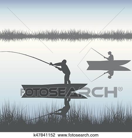 Men Fishing On Lake From Boat Clipart K47841152 Fotosearch