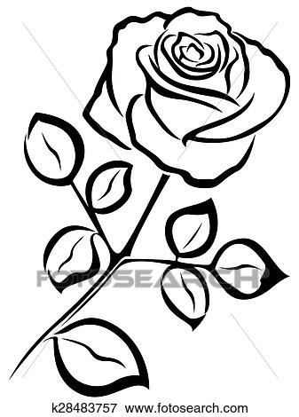 Clipart Rose Noir Contour K28483757 Recherchez Des Cliparts