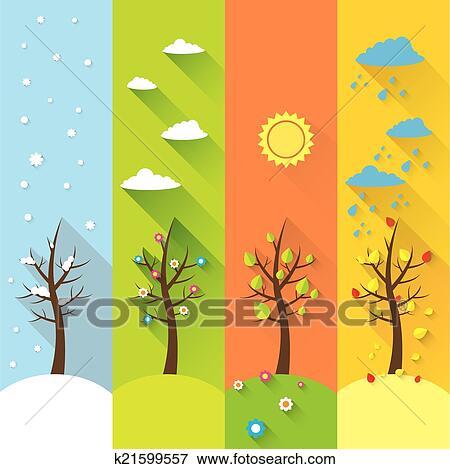 Klip Art Vector Afiş Dört Mevsim K21599557 Klipart